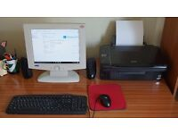 Windows 10 Desktop Computer System with Printer and Speakers
