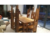 Wooden Thai Table and 6 Chairs
