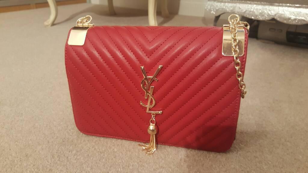 Ysl Yves Saint Lau Red Gold Bag Handbag Tassle