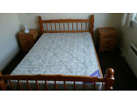 Pine double bed frame and mattress, excellent condition.