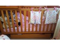 Mothercare cot bed, under cot drawer and cot top changer