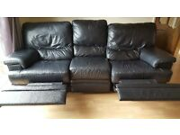 3 and 2 Seater Black Leather Reclining Sofas