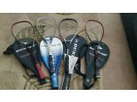 4 Dunlop Tennis Rackets and bags