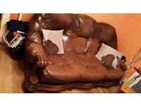 Leather 3seather sofa and 2 armchair