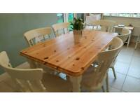 Shabby chic pine farmhouse table and 6 chairs Laura Ashley White