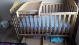 Mamas & Papas Solid Oak Cot Bed, Changer and Storage Drawer