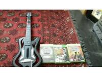 Wireless Xbox 360 Guitar Hero controller w/3 games