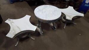 Side/Coffee Marble Table Set - Ensemble de table a cafe/basse en Marbre