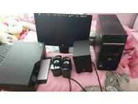 Hp desktop with speakers and printer