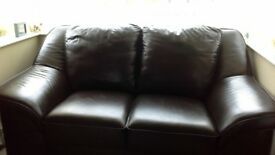 2 sofa's 1 armchair & 1 pouffe in brown leather