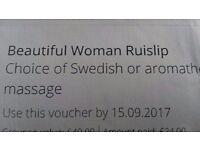 Full body massage VOUCHER at Beautiful Woman Salon (Ruislip): Swedish or Aromatherapy