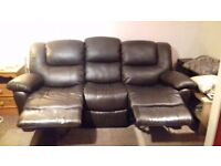14mth faux leather recliners. Brown. Buyer to collect. £200