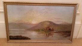 old oil painting of a scottish loch