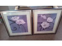 Pair of large framed prints Sondra Wampler Trellis series