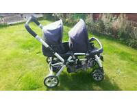 Tandem pushchair/stroller. Jane twin two