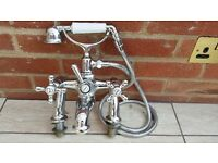 ARMITAGE SHANKS TRADITIONAL TWIN TAP BATH MIXER + HAND-HELD SHOWER ATTACHMENT. EXCELLENT CONDITION