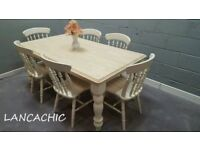 Chunky Legged 6ft Table and 6 Chair Set - Bespoke