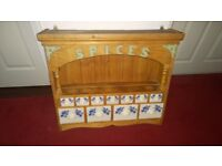 Decorative pine spice rack with 11 ceramic drawers