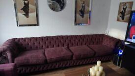 12ft Plum Chesterfield sofa