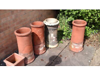OLD CHIMNEY POTS X 4 SUITABLE FOR GARDEN PLANTERS