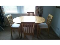 Lovely wood extending dining table + 4 chairs - ivory/cream faux suede cushioned seats