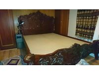 **SOLD** Luxury King Size Solid Wood Bed Frame - Ornate Carved French Style Baroque
