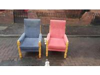 Very nice fireside chairs in red/blue fabric set in pine wood £50 each