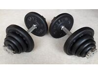 40KG YORK CAST IRON DUMBBELL WEIGHTS SET - BRAND NEW