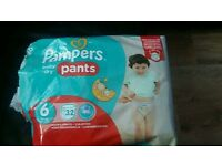 Pampers pants baby-dry size 6 15+ kg/33+lbs 24 pants please read