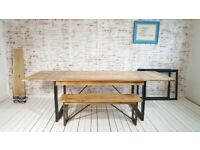 Extendable Rustic Metal Oak Style Hardwood Industrial Dining Table - Seats up to Twelve People