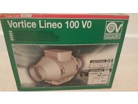 Vortice lineo 100 VO inline self extinguishing duct fan. Brand new, boxed.