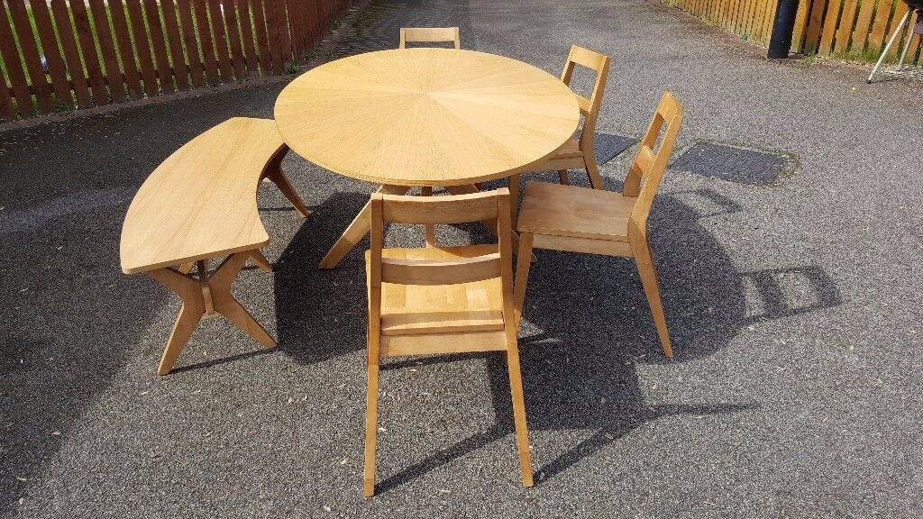 Large Oval White Oak Table 4 Chairs & Bench FREE DELIVERY 509