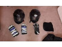 Selection of Ladies and Gents Motorcycle Clothing. Helmets, Gloves, Jackets, Trousers.