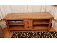 Wide Solid Oak Rustic TV Cabinet / Entertainment Unit.