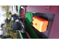 14ft Fibreglass fishing boat c/w 5hp Evinrude twin cylinder engine and 22ltr external fuel tank