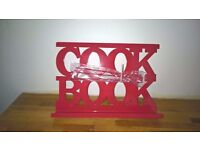 Red Metal Cookbook Stand with Box