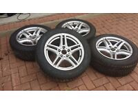 Dunlop Runflat Winter Tyres 225/55/17 on Borbet Alloy Wheels
