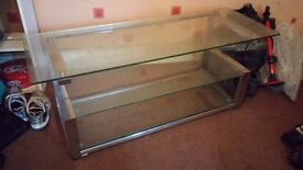 Large glass / chrome tv stand