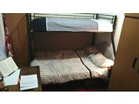 Bed frame for double bunk bed (double under, single on top)
