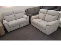 Furniture Village Bounce 2 Seater Electric Recliner & 2 Seater Standard Fabric Sofas Can Deliver