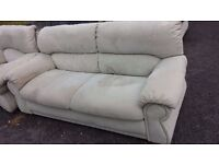 FREE OF CHARGE Cream 3 Piece Suite - Very comfy and good condition (And a free TV and grey DFS seat)