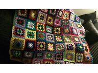 crochet blanket handmade mixed bright colours sofa blanket chunky wool FREE courier delivery