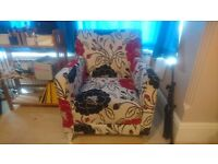Armchair with flowery pattern