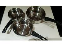 3 new unused saucepans