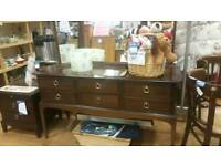 Stag dressing table and matching bedside table with large mirror