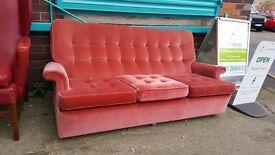 Velour 3 seater sofa