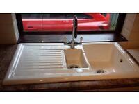 Ceramic kitchen sink and taps