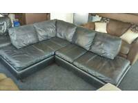 Black leather Corner sofa ( free delivery )