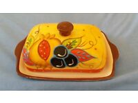 Beautiful, hand painted butter dish