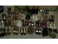 34 pairs of womens shoes, various styles, sizes 5 & 6